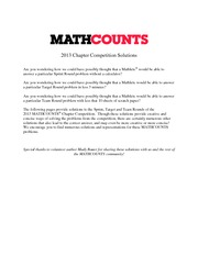 Chapter ~ 2013 Solutions » MathCounts