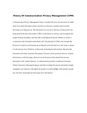 Theory Of Communication Privacy Management