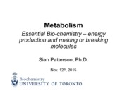 Intro to Metabolism - Nov. 12, 2015