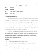 Business Law Memorandum - 5 Pages Including 8 References (RATED A+)