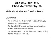 11-1 CHM 111 Molecular Models and Chemical Bonds