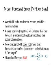 Mean Forecast Error (MFE or Bias)