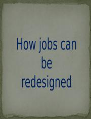 How jobs can be redesigned