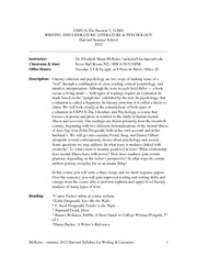Harvard Literature and Psychology Syllabus