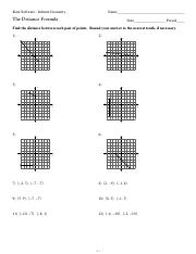4 Pages The Distance Formula Worksheets With Answers Tocheck