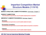 Nov 9 and 11 Imperfect Competition Models