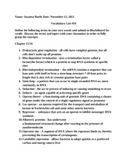 Genetics Vocabulary List Chapter 15