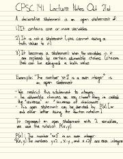 CPSC 141 Oct 21 Lecture Notes