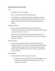 ISTE Standards for Teachers Notes