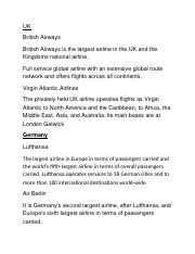 airline descriptions