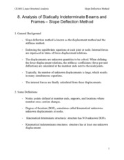 8. Analysis of Statically Indeterminate Structures - Slope Deflection Method