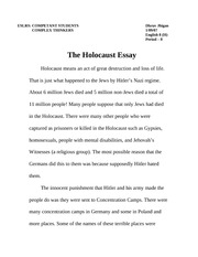 faith essay  5 pages holocaust essay