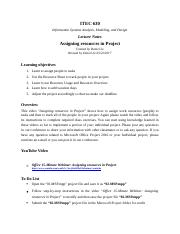 Microsoft Project Lecture Notes & Exercise 2.docx