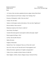 History 101 - Western Civilization I - Chapter 11 - West in Crisis, Later Middle Ages, Notes.docx