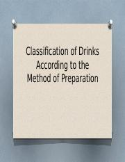 Classification of Drinks According to the Method of.pptm