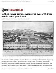 In 1850, Ignaz Semmelweis saved lives with three words: wash your hands | PBS NewsHour.pdf