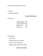 Lecture 1 Notes Introduction to the Course