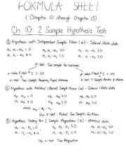 formula sheet - Ch.10,13,research