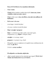 Informal Commands and Subjunctive Lecture Notes