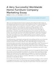 A Very Successful Worldwide Home Furniture Company Marketing Essay