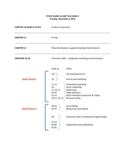 MKT 316 STUDY GUIDE for EXAM 3 for 12 3 13