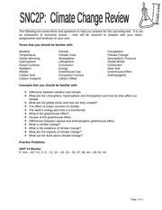Exam Review - 2P spr2012 - SNC2P FINAL EXAM REVIEW SECTION I