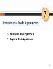 Chapter 7 International Trade Agreements