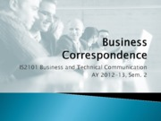 Lecture 2 - Business Correspondence