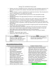 Biology 212 Lab Midterm Study Guide - Labs 1-4.docx