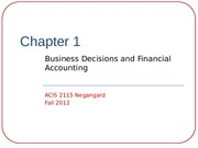 Chapter 1-Business Decisions and Financial Accounting
