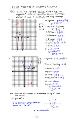 3.1 Part 2 Properties of Quadratic Functions