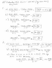 Calc Unit 1 HF 1 answers and solutions