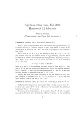 MATH 373 Fall 2014 Homework 12 Solutions