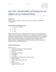 Lab 122 - Conservation of Energy for an Object on an Inclined Plane