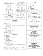 math cheat sheet - b FTOC: ∫ f ( x)dx = F (b) − F (a ) a Trig ...