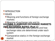 LECTURE 2 -  EXCHANGE RATES AND THE FOREIGN EXCHANGE MARKET (1)