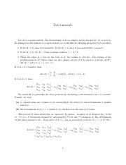 Determinants - Linear Algebra with Professor Lines (Math284)