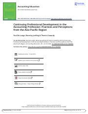 Continuing Professional Development in the Accounting Profession Practices and Perceptions from the