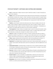 defense mechanisms and coping mechanisms