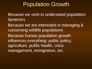 Lecture 31 - Population Growth