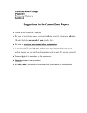 Suggestions for the Current Event Papers (ARC) Fall 2013