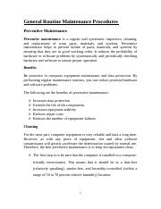 General routine maintenance procedures 2203 (Autosaved).doc