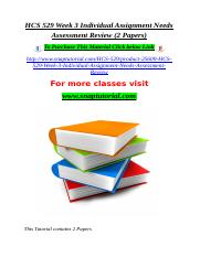 HCS 529 Week 3 Individual Assignment Needs Assessment Review (2 Papers).doc