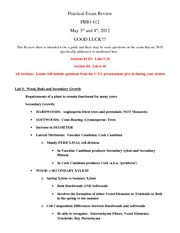 Practical Exam II Review 2012