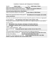 audience analysis and adaptation worksheet Written document analysis worksheet 1 type of document (check   4 for what audience was the document written  this worksheet is an  adaptation of one designed and developed by the national archives, washington , dc.