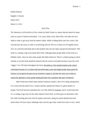 English-Huck Finn Essay
