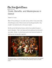 Cost benefits masterpieces