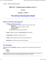 Lecture 4 - Software Development Model