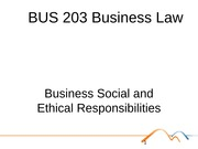 BUS 203 Business Law Topic 9 - Ethics