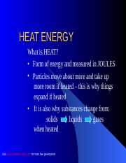 HEAT ENERGY - HEAT CONCEPTS